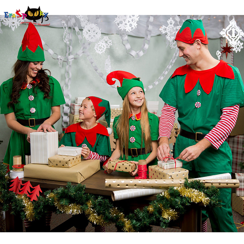 9f42e06a386 US $14.62 32% OFF|Eraspooky 2018 Santa Claus Cosplay Women Christmas Elf  Costumes Adult Family Fancy Dress Kids Carnival Party New Year Costume -in  ...