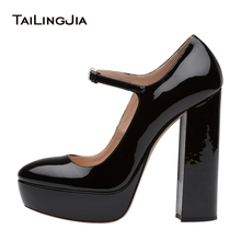 Women Patent Black Round Toe Platform Sky High Mary Janes Pumps Ladies Evening Dress Heels Chunky Heel Summer Autumn Shoes 2018
