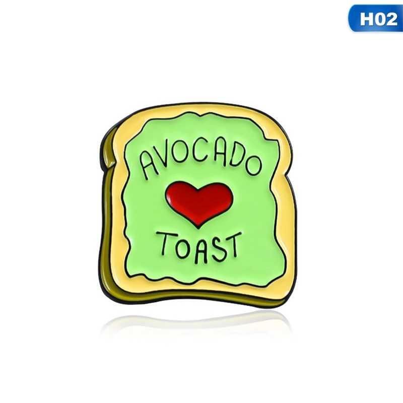Coeur rouge plante Fruit végétarien nourriture avocat Toast broches broche pour femmes hommes T-shirt émail revers chapeau épingle cadeaux