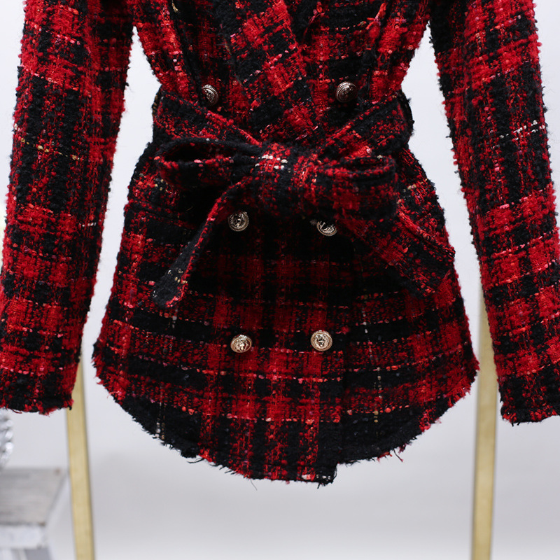 2019 Ms Blasting Models Of Foreign Trade Coat And Belts Braided Tweed Suit Collar Wool Coat Fashion Suit Jackets Coat Women