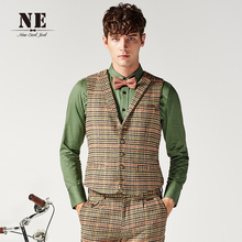 2016 Spring Fashion Men Classic Vest 27% Wool Brand Clothing Casual Khaki Plaid Suit Vests Slim Single Breasted Formal Waistcoat