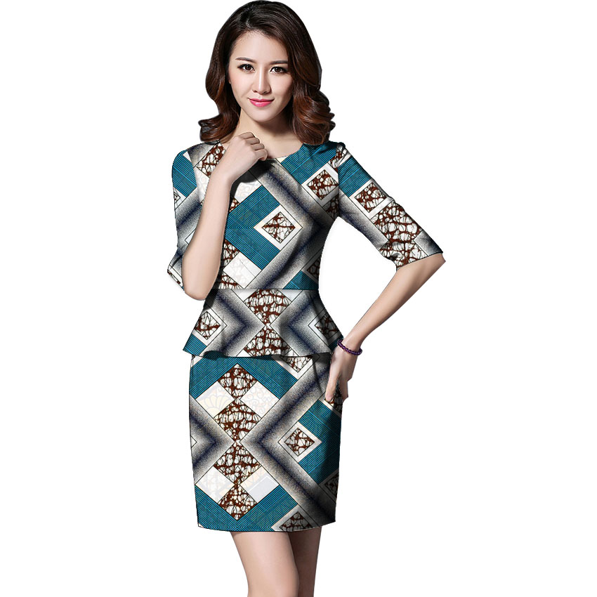 African Women Fashion Half Sleeve Wax Tops Skirts Set Two Piece font b Suit b font
