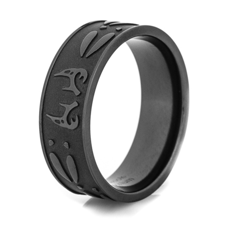 SHARDON Mens black Deer antler tracks titanium ring Outdoor