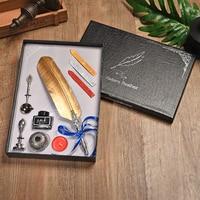 Pluma de Color dorado pluma Vintage pluma regalo caja set estudiante escritura Oficina suministros Dip agua caligrafía pluma 5