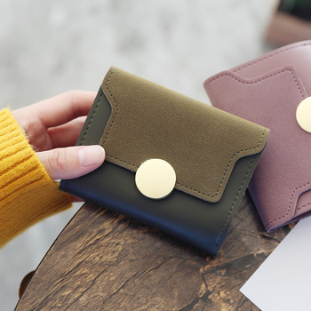 Women's short metal buckle matte stitching 3 fold fashion wallet 2018 student's simple multi card snap ring wallet