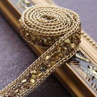 Golden Crystal Rhinestone trouwjurk accessoires Parel Kralen Kant Trim stof applique patches Iron on of Naaien 2*100 cm