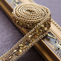 golden Crystal Rhinestone Wedding dress accessories Pearl Beaded Lace Trim fabric applique patches Iron on or Sew on 2*100cm