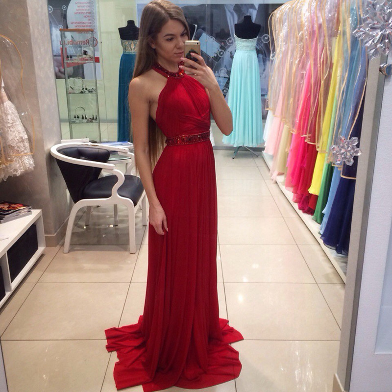 Длинные платья облегающие красные