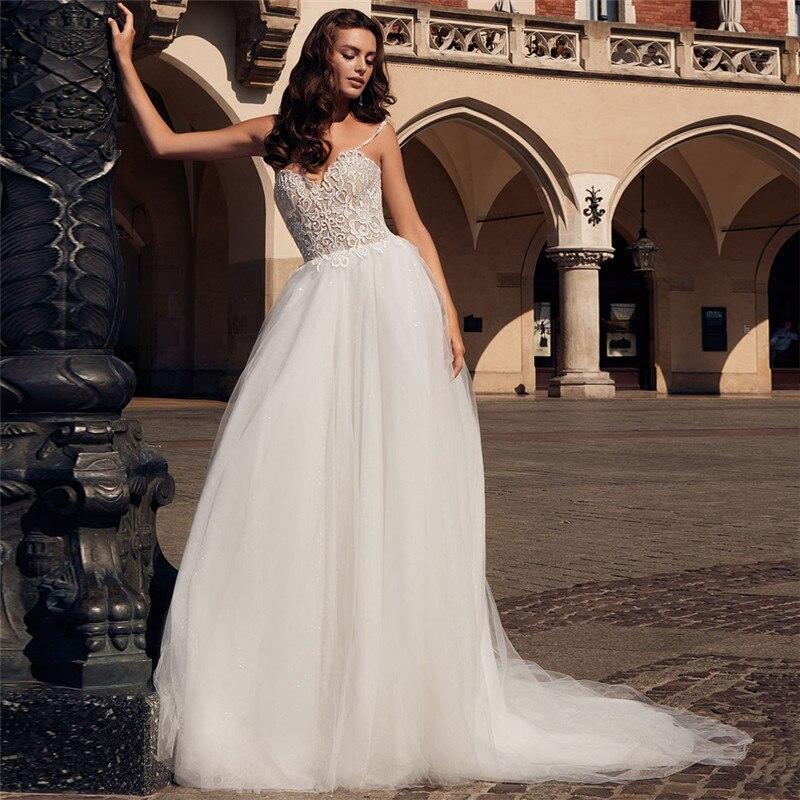V-neck Spaghetti Strap Lace Wedding Dress Sequin Tulle Backless A-line Long Bridal Gowns Robe De Marriage Vestidos De Novia