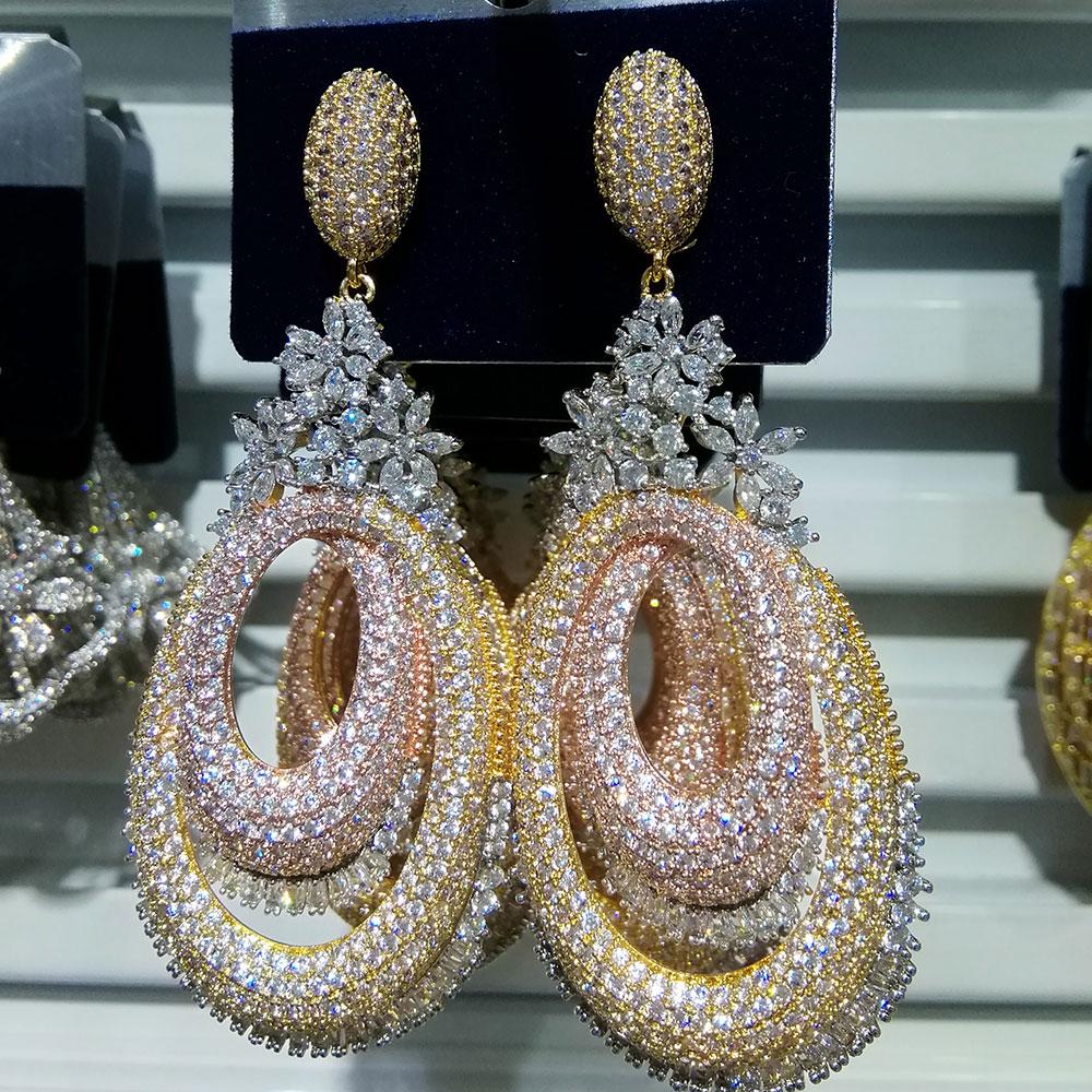 GODKI 72mm Luxury Floral Flower Hollow Geometry Full Mirco Paved Microl Zircon Naija Wedding Earring Fashion