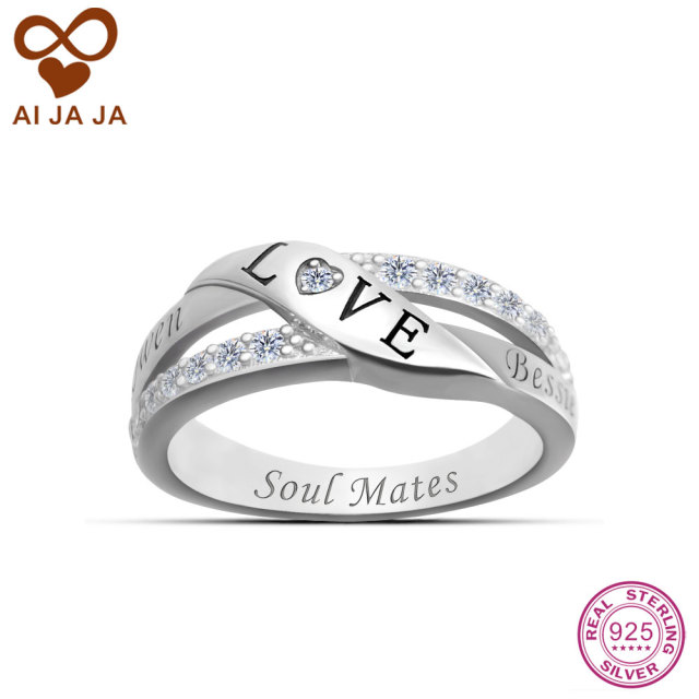 Aijaja 925 Sterling Silver Personalized Wedding Rings Custom Names Engraved Love Symbol For Women Crystal