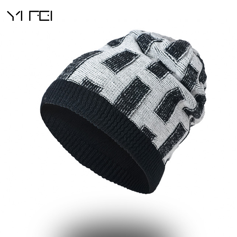 Casual Brand Men Winter Hat Double-sided Beanie Hats Fur Warm Baggy Knitted Skullies Bonnet Ski Sports Adult Cap New Arrival adult beanie skullies rabbit fur ball shining warm knitted hat autumn winter hats for women