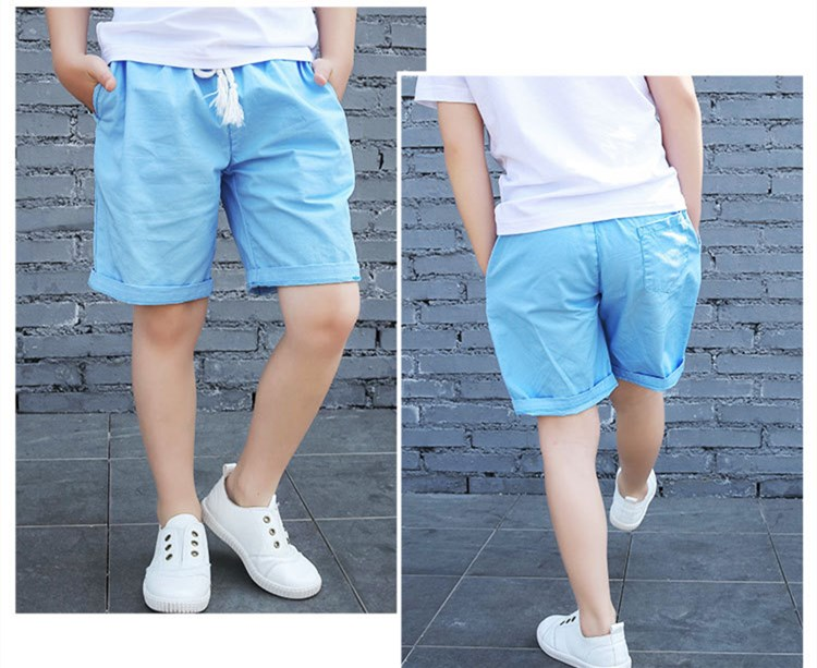 2018 Solid Colors Kids Trousers Casual Loose Mid Children Pants Five Sub 3-14Y Boys Shorts elastic waist Multicolored KP-1813 boys elastic waist solid pants