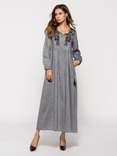 Women Floral Embroidery Grey Maxi Dress Long Sleeves Losse Casual Long Dress Spring Autumn Vintage Pleated Patchwork Muslim Dres navy floral pattern long sleeves maxi dress