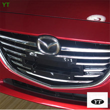Chrome front grille trim auto grille decoration cover for Mazda 3 AXELA 2014 2015,ABS chrome,8pc/lot,free shipping цена
