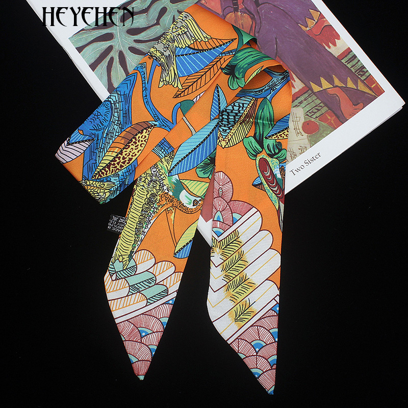2019 Bird Flower Print New Design Luxury Brand Skinny Small Bag Twill Silk Scarf Women Fashion Ribbon Head Hair Handle Scarf