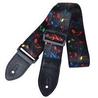 PUNK Polyester painted guitar strap folk guitar / acoustic guitar strap Black Music symbol