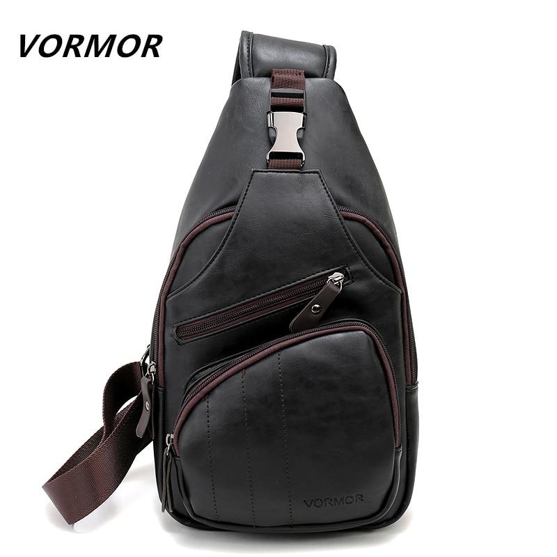 8e0267766b12 VORMOR большой размер модная кожаная сумка через плечо мужская сумка через  плечо Burglarproof Черная мужская сумка мессенджер мужская сумка через плечо  ...