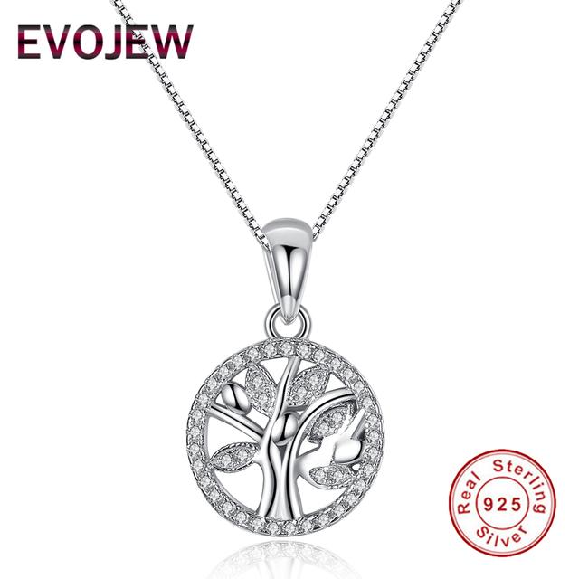 Auténticos 100% Plata Esterlina 925 Árbol de La Vida Colgante Collar de la Mujer Accesorios de La Joyería Del Encanto de la Cadena de Enlace de Lujo