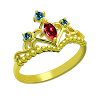AILIN Unique Birthstone Princess Tiara Ring Gold Color Customized Crown Ring Women Jewelry