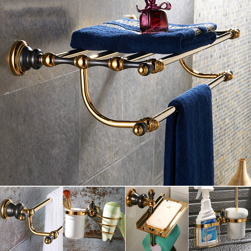 European Gold Polish Black Bathroom Accessories Sets Paint Bathroom Hardware Set Modern Brass Bathroom Suit Unique