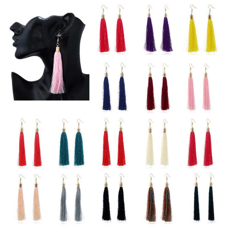 VINTAGE ยาวพู่ DROP ต่างหูสำหรับสตรีแฟชั่นเลดี้โบฮีเมียนสีขาวสีแดงผ้าไหมผ้า Dangle ต่างหูเครื่องประดับอินเดีย