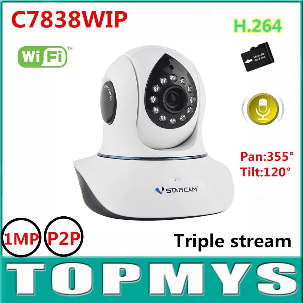 ФОТО Vstarcam wireless IP camera C7838WIP 720P HD1MP wifi CCTV ip camera mini PT IR day night vision Dome camera built in TF card P2P