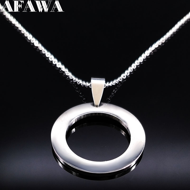 2018 Fashion Round Stainless Steel Necklaces Women Jewelry Silver Color Statemen