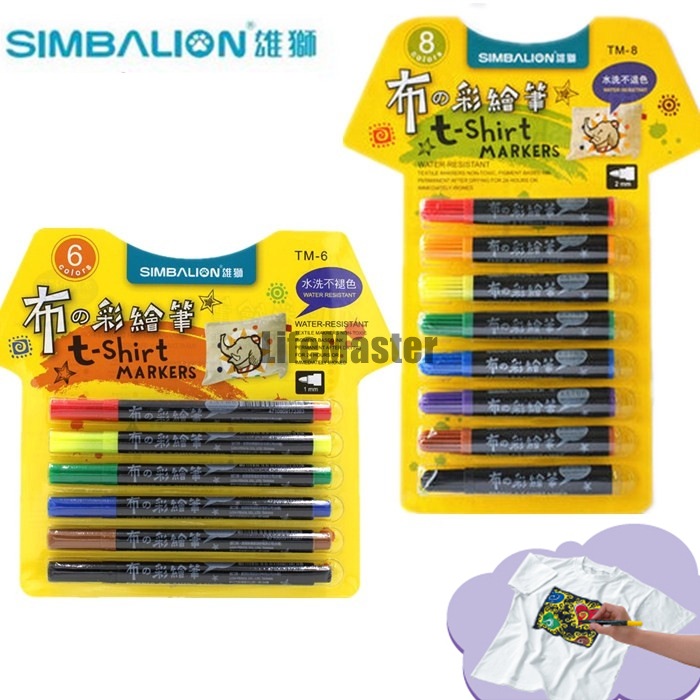 LifeMaster Simbalion Fabric and T-shirt Liner Textile Art Marker 8/6 colors set  Permanent Ink Cloth Paint Color DIY Design textile volume 1 issue 3 the journal of cloth and culture textile