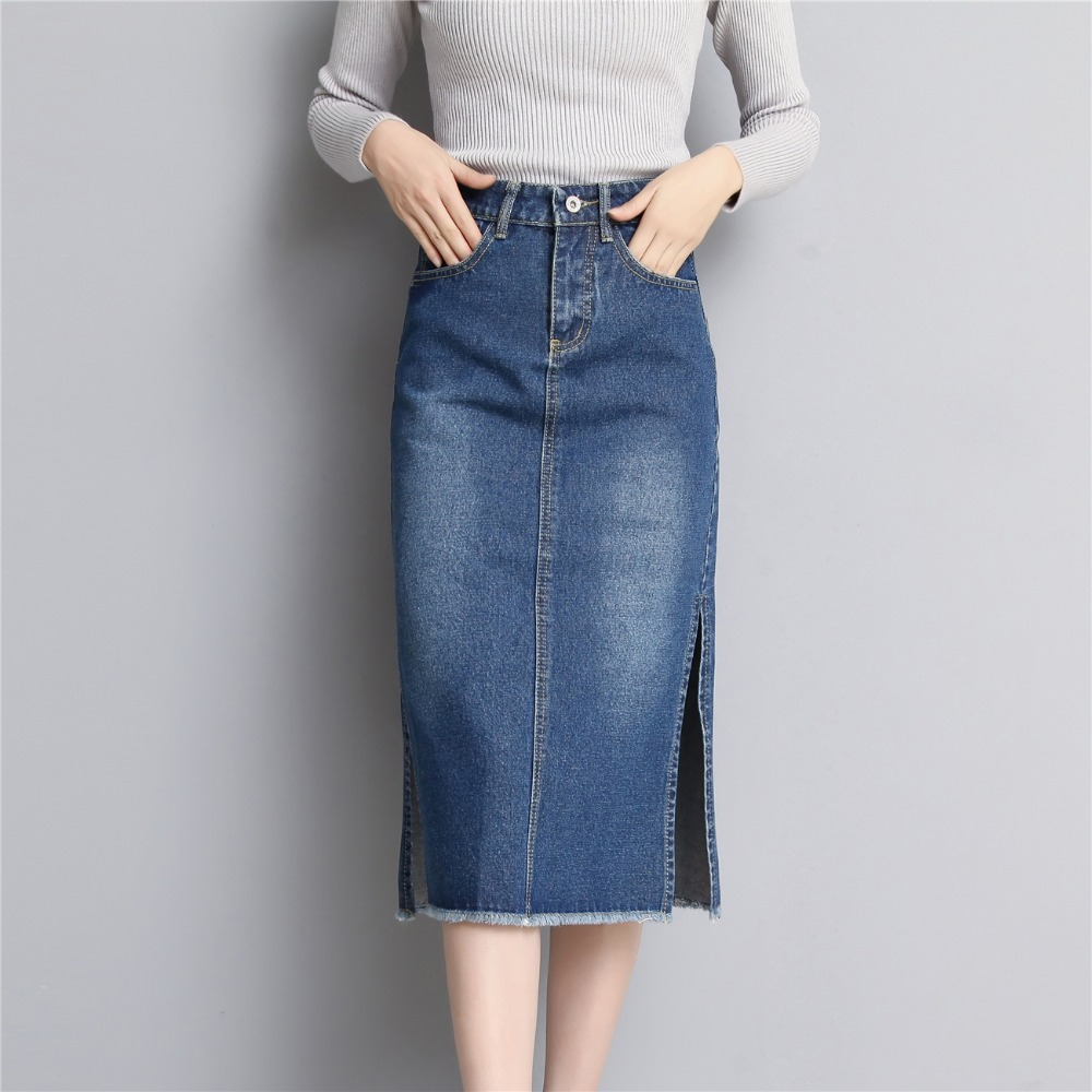 Online Get Cheap Knee Length Denim Skirt -Aliexpress.com | Alibaba ...