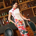 New Arrival Women's Long Cheongsam Hot Sale Traditional China Lady Silk Qipao Elegant Slim Dress Peony Flower Size S-XXL