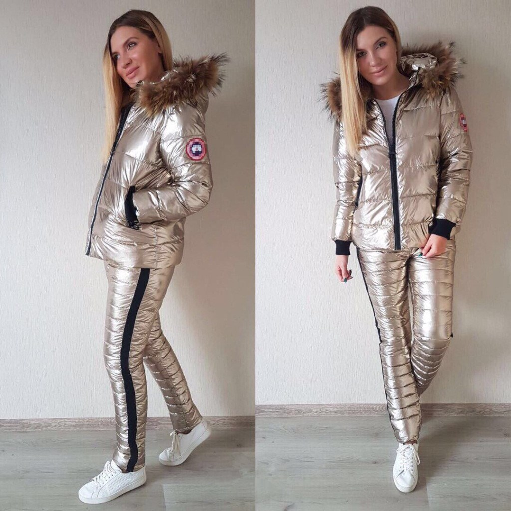 Winter Fashion Warm Fur Collar Women Solid Warm 2 Pieces Coats Set Thicken Fur Coat Pants Casual Thick Cotton Women Tracksuit