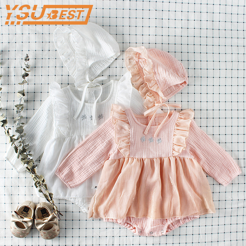 2018 Baby Girls   Rompers   + Caps 2pcs Autumn Toddler Baby Girl   Rompers   Cotton Lace Princess Kids Girl Clothing Sweet Kids Clothes
