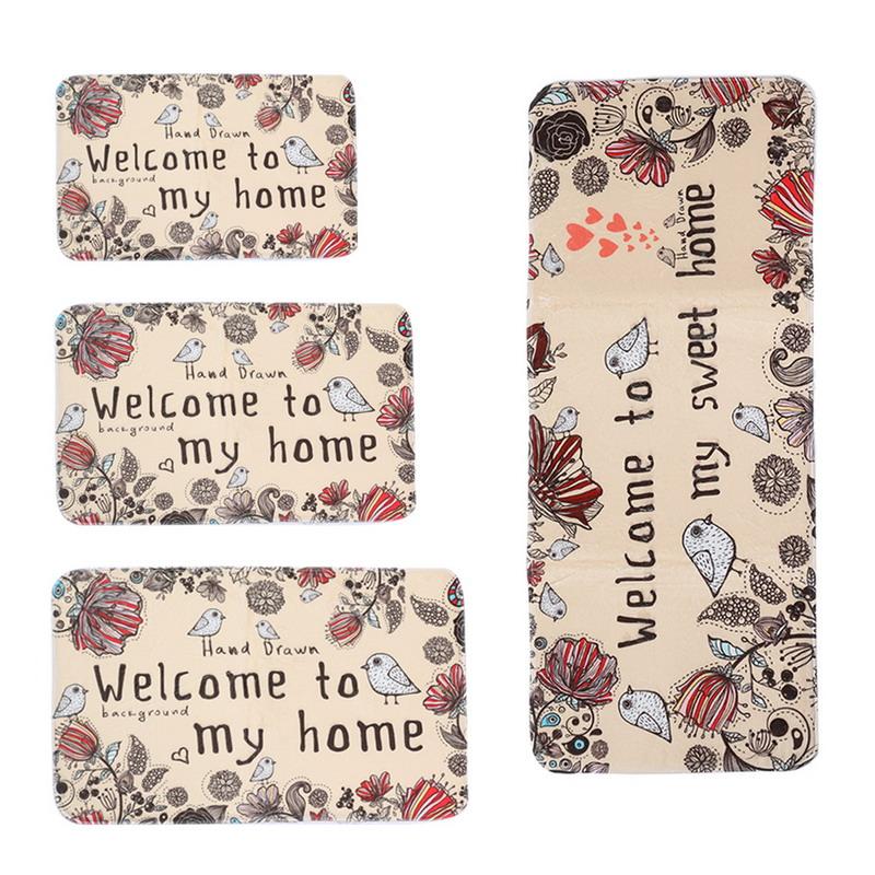 Hallway Welcome Floor Mats Animal Cute Cat Print Bathroom Kitchen Carpet