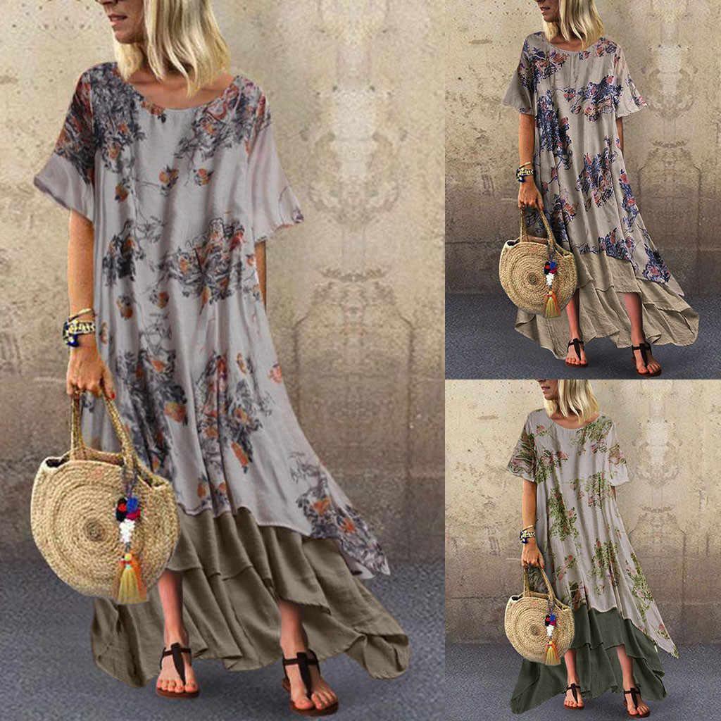 여성 여름 긴 맥시 드레스 보헤미안 비치 캐주얼 코튼 린넨 o-넥 빈티지 드레스 플러스 사이즈 Sundress 5XL Vestidos