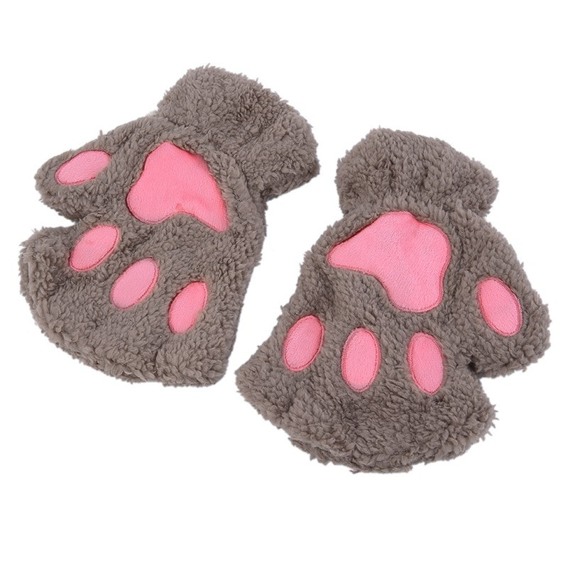 women bear cat paw fluffy gloves winter warm plush half. Black Bedroom Furniture Sets. Home Design Ideas
