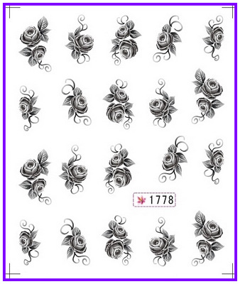 цены  6 PACK/ LOT  GLITTER WATER DECAL NAIL ART NAIL STICKER BLACK FLOWER GARDENIA SAVONA  MARGUERITE SY1773-1778