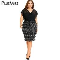PlusMiss Plus Size 5XL Sheer Mesh Sequin Chiffon Dress Office Work Wear Women Clothing Elegant Formal Party Pencil Midi Dress