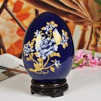 Jingdezhen Ceramic Blue Peony Lucky Egg Vase Wedding Gifts Home Handicraft Furnishing Articles