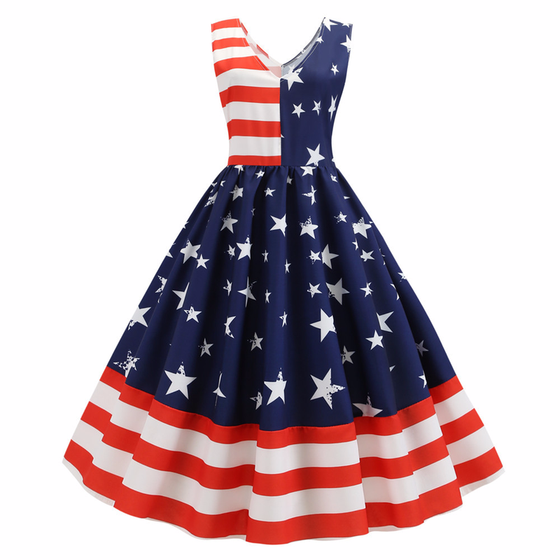 Women Summer Print A-Line Party Dress V Neck Robe Pin Up Swing 50s 60s Retro Rockabilly Independence Day Vintage Dresses