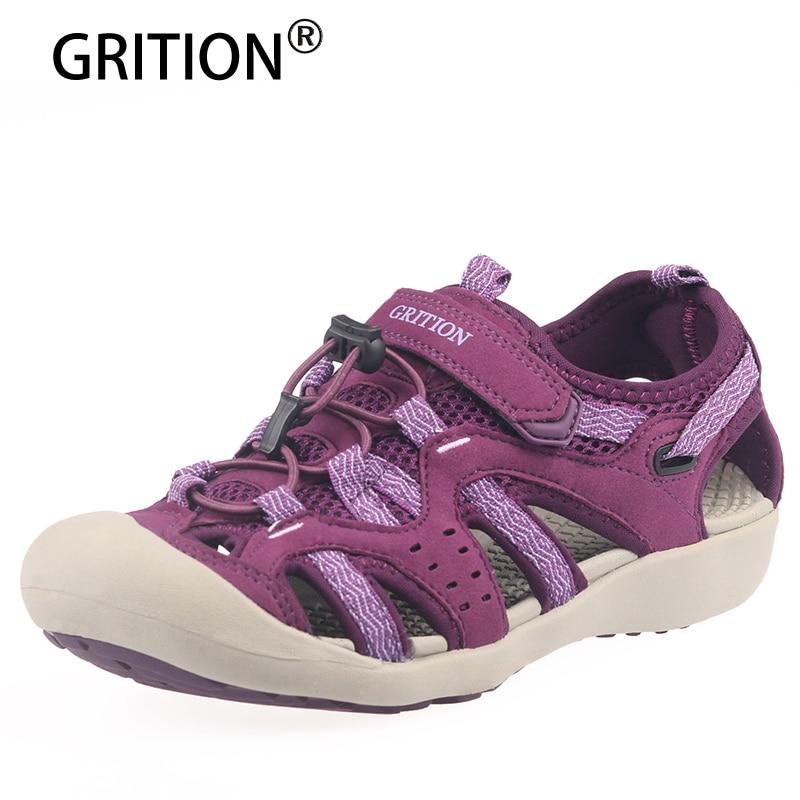 GRITION Outdoor Sandals Women Summer Comfort Sport Beach Shoes Breathable Garden Shoes Trekking Toecap Casual Hiking Sandals 41