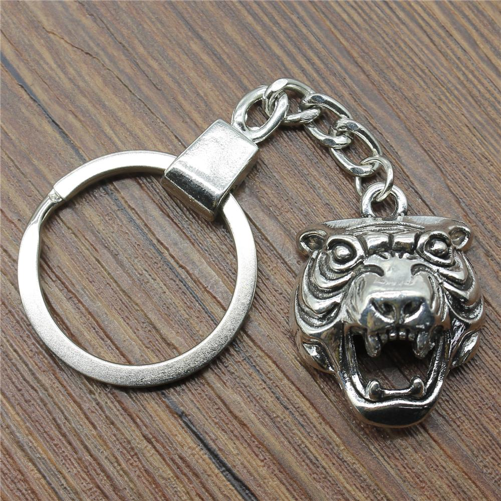 Keyring 3D Tiger Head Keychain 31x24x10mm 2 Colors Antique Bronze Silver Key Chain Partys For Women