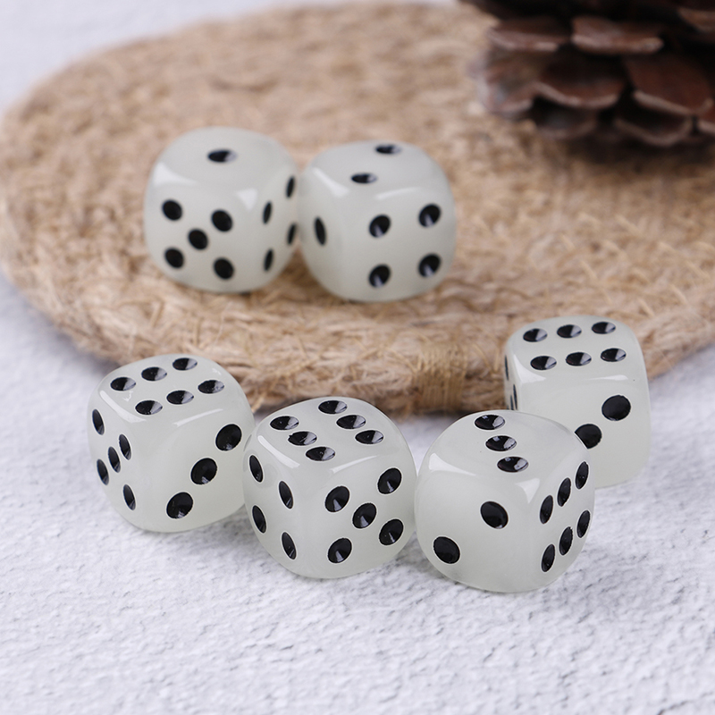 Hot Sale 6Pcs/set 16mm 6 Sided Noctilucent Dice Cubes Night Light Luminous Fun Night Bar KTV Entertainment Game Dices
