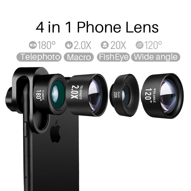Cell Phone Camera Lens 4 in 1 Kit 20X Macro Lens+2.0X Zoom Telephoto Lens+Macro Lens+Fisheye Lens for iPhone X/8/7/7 Xiaomi OPPO pixco camera lens kit for iphone case selfie stick wide angle lens fisheye macro lens handheld for iphone remote shutter i6s