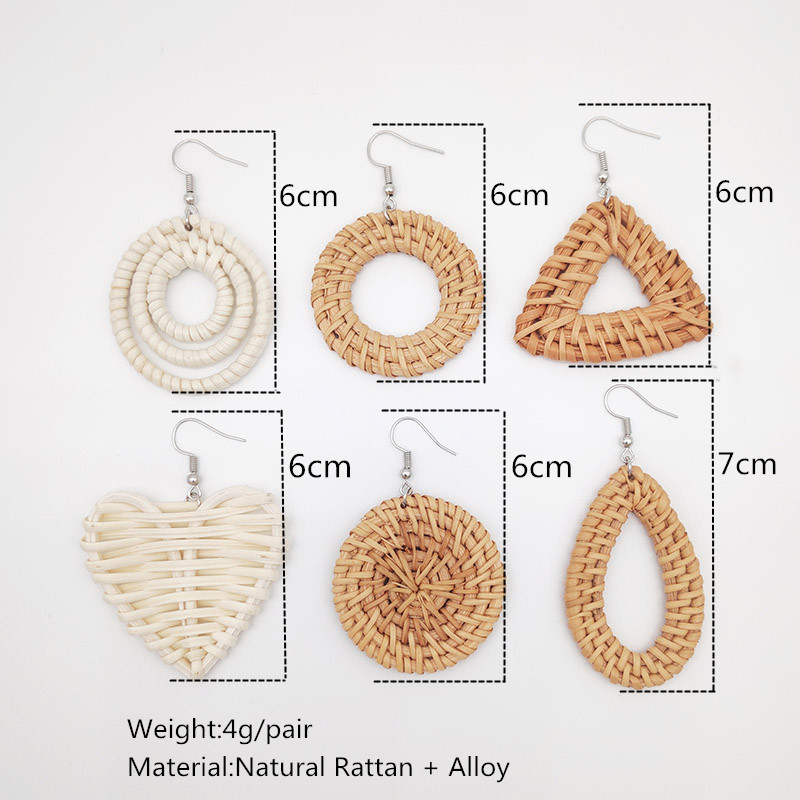Bohemian Wicker Rattan Knit Pendant Earrings Handmade Wood Vine Weave Geometry Round Statement Long Earrings for Women Jewelry 36