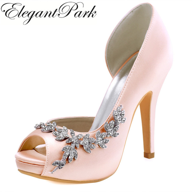 Woman High Heel Wedding Shoes Blush pink Platform Rhinestone Satin  Bridesmaid Lady bridal Prom Party Dress Pumps Green HP1560IAC a405cef325