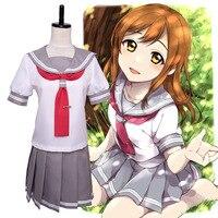 Hot Japanese Anime LoveLive Sunshine Cosplay Costume Takami Chika Girls Sailor Uniforms Love Live Aqours School