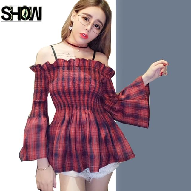 742ed75f1c3 2 Colors Cute Sweet Blouses Shirts Hot Women Japan Korea Design Slim Waist  Peplum Tops Green Red Plaid Shirt Off Shoulder Top