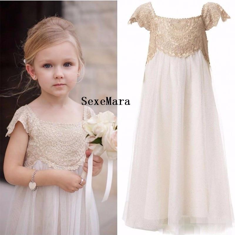 купить Champagne Lace Flower Girl Dresses Scoop Neck Floor Length Appliques Kids Wedding Party Gowns Communion Dresses Hot Sale недорого