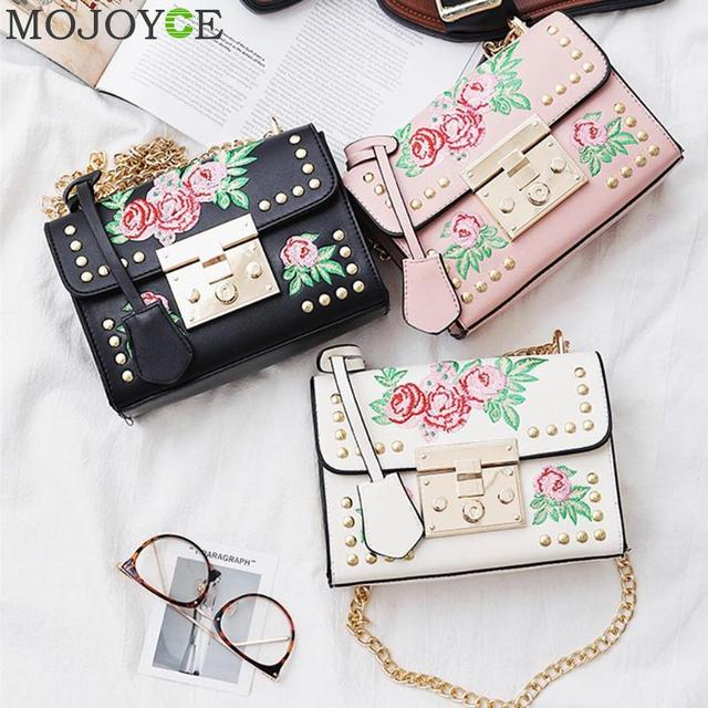 Women Embroidery Flower Bag Fashion Flap Rivet PU Leather Messenger Bag Sling Small Shoulder Bags Crossbody Messenger Bags 4
